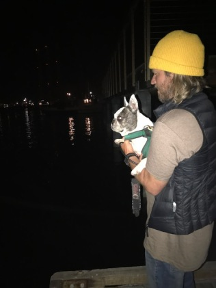 Looking for seals at nigh with Dad